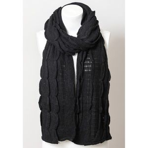 Black Scalloped Scarf Women Knit Ruffle Wrap NWT